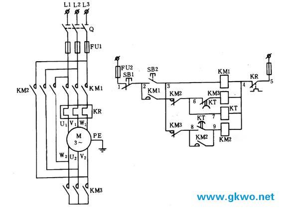 图1电动机y/△减压起动控制主电路和电气控制的原理图