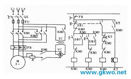 km1通电并自锁电动机已单向正常运行后,若要停机.