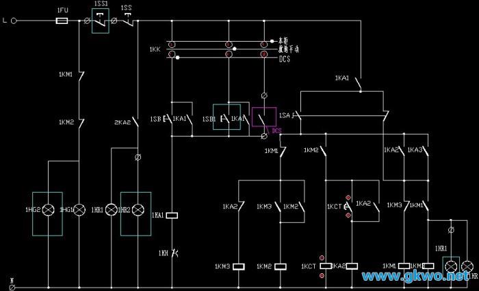 二次原理图中1SS为电气柜上的停止按钮,1SS1为现场操作箱上的停止按钮;1SB为电气柜上的启动按钮,1SB1为现场操作箱上的启动按钮;DO为DCS系统启动/停止控制输出触点;1HR5为电源指示灯;1HR为电气柜上的运行指示灯,1HR1为现场操作箱上的运行指示灯;1HG为电气柜上的停止指示灯,1HR1为现场操作箱上的停止指示灯;1KK为操作地切换开关;1KH为热继电器;1KM为接触器;1KA为中间继电器;1FU为二次回路保险。