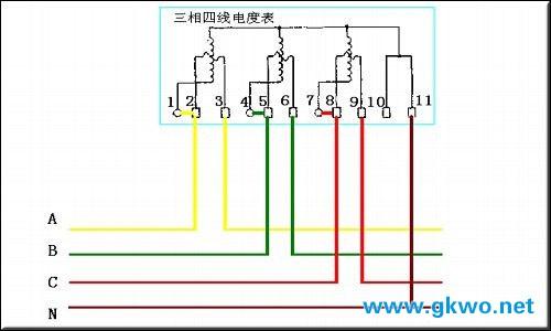 三相电表接线图_三相四线电表接线图