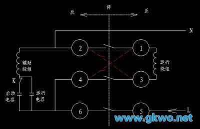 倒顺开关控制单相电动机正反转电路图解