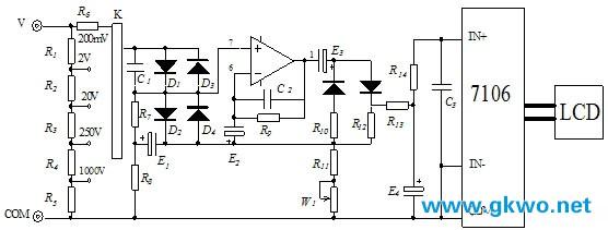 数字万用表的测量将一些测量信号转换成直流电压信号,然后通过模数转换电路转换成数字信号,再通过电子计数器计数,最后将测量结果用数字直接显示。它不但能测量直流电压、交流电压、直流电流,交流电流和电阻,也能测量信号的频率、电容的容量、三极管的放大倍数等参数,还具有自动校零、自动极性转换、过载指示、保持读数、显示测量单位符号等功能。其中系统框图。