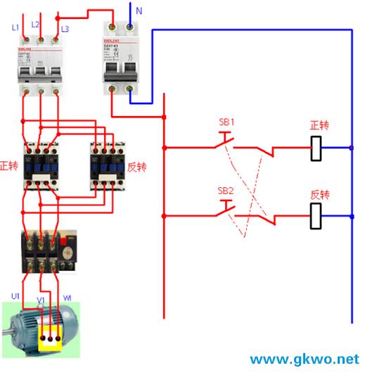 QS开关合上后,按下SB2启动按钮,KM1正转交流接触器线圈得电吸合,KM1的常开变为常闭,常闭变为常开,控制回路中进行自锁,使KM1线圈继续得电,主回路中KM1吸合的同时,三相异步电动机正转启动。按下按钮SB1后控制进回路、断电,使线圈KM1失电,电机动正转停止。