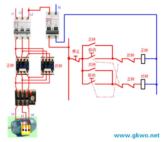 电动机正反转控制电路_三相电机正反转电路图_正反转接线图正反转电路