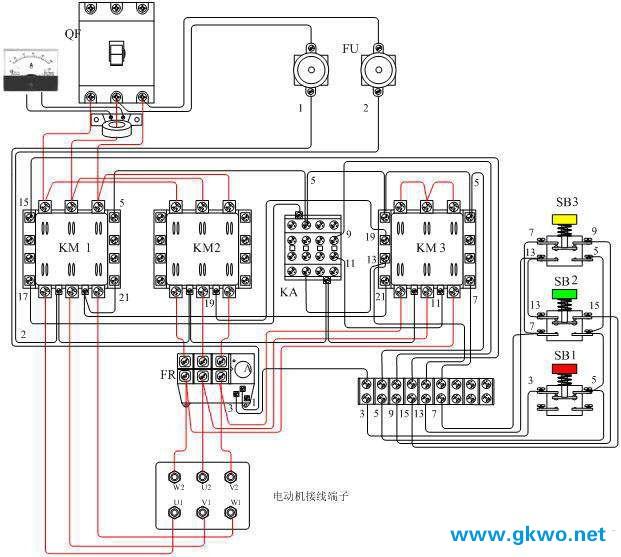 3、随着电动机转速的升高,待接近额定转速时(或观察电流表接近额定电流时),按下运行按钮SB3,此时BS3的常闭触点断开KM3线圈的回路,KM3失电释放,常开主触头释放将三相绕组尾端连接打开,SB3的常开接点接通中间继电器KA线圈通电吸合,KA的常闭接点断开KM3电路(互锁),KM3的常开接点吸合,通过SB2的常闭接点和KM1常开互锁接点实现自保,同时通过KM3常闭接点(互锁)使接触器KM2线圈通电吸合,KM2主触头闭合将电动机三相绕组连接成,使电动机在接法下运行。完成了Y-接压启动的任务。