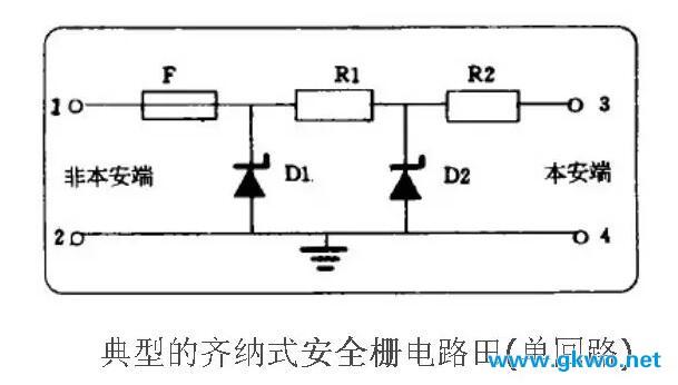 齐纳式安全栅电路图