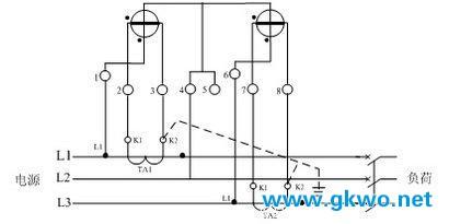 三相三线式(三相两元件)电度表经电流互感器接线图