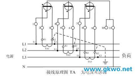 三相四线式(三相三元件)电度表经电流互感器接线图、原理图