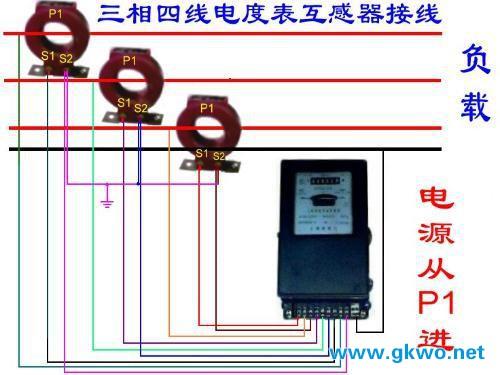 三相四线电表加互感器实物接线图